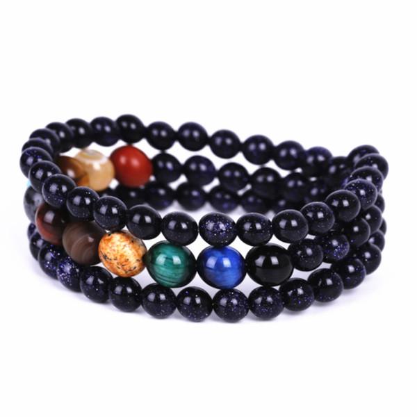Bangle multistrato Sky Blue Sandstone perline pietra naturale Galaxy Planets Bracciali Sistema Solare Uomini Chakra braccialetto per le donne