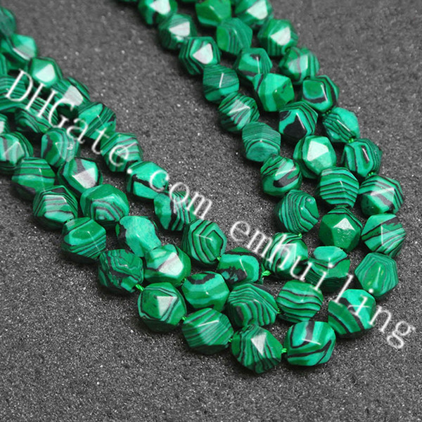 10 Strands 6-12MM Imitation Striped Malachite Stone Loose Beads Synthetic Green Malachite Jasper Faceted Nugget Beads for DIY Making Jewelry