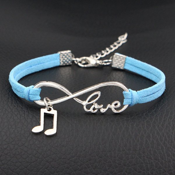 Handmade Blue Leather Suede Rope Bracelets Bangles For Women Men Classic Silver Color Fashion Infinity Love Music Pendant Charm Jewelry Gift