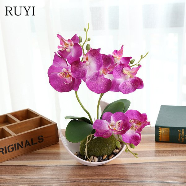Decorations Artificial Dried Flowers Artificial Butterfly Orchid Potted plants silk Decorative Flower with Plastic pots for Home Balcony ...