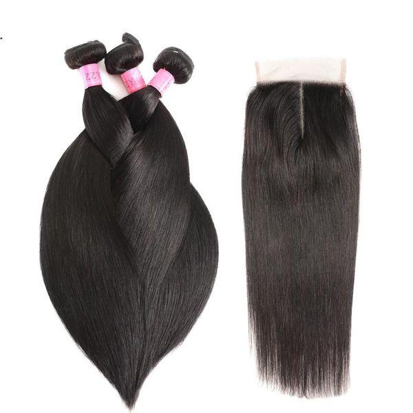 FashionStraight Bundles cheveux avec Bundles non Remy Cheveux de fermeture du Pérou Cheveux avec fermeture