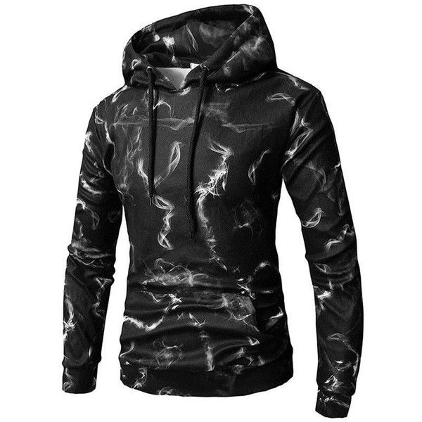 2018 New Style Fashion Hot Men's Winter Hoodies Slim Fit Hooded Outwear Warm Print With Hat With Pocket