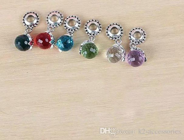 Mix Colors Crystal Birthstone Dangles Birthday Stone silver Pendant Charms Beads With Lobster Clasp Fit For Floating Locket