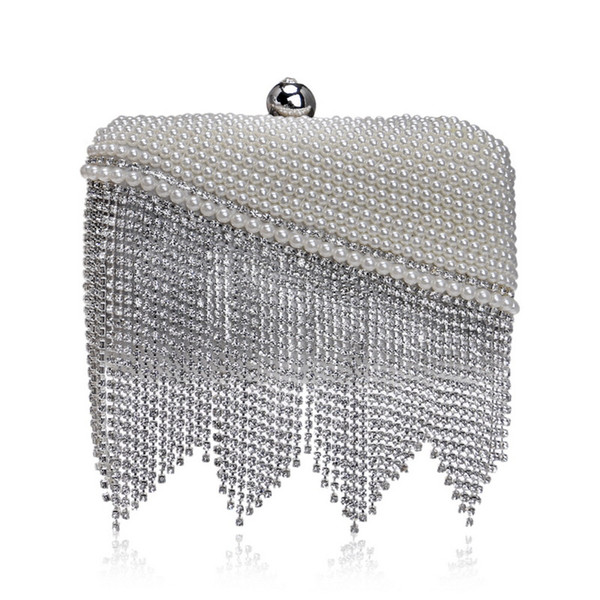 Elegant Ladies Evening Clutch Bag with Chain Diamond Tassel Pearl Shoulder Bag Women's Handbags Purse Wallets for Wedding Party