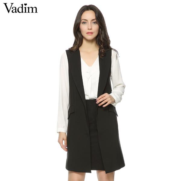 Les femmes longues veste manteau de style Europen veste gilet sans manches outwear occasionnels haut Roupa Femme 4 couleurs ZC046