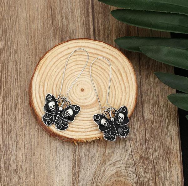 2019 heiße neue schwarze Schädelohrhaken arbeiten hängende Zusätze des Schmetterlinges Knall Halloween-Ohrringgroßhandelsfrauen um