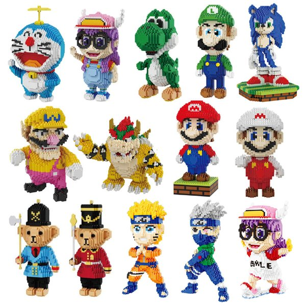 Balody Anime Naruto Alrale Doraemon Super Mario Sonic Wario Yoshi Luigi Animal Mini Building Diy Diamond Nano Blocks Toy No Box MX190730