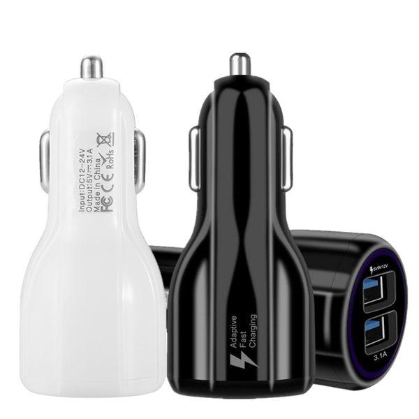 Carica rapida adattiva per auto Doppia porta USB 5v / 9v / 12v 3.1A Ricarica rapida per auto per Samsung Galaxy S6 S7 S8 Plug per iphone 5 6 7 mp3 gps