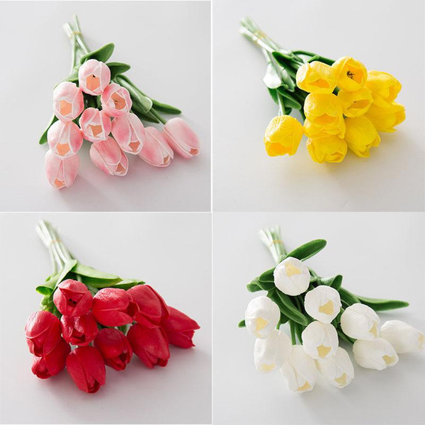 PU artificial flower simulation Mini Tulips wedding Wedding ceremony decorate FlowerS Home Furnishing Flower arranging material long 33CM