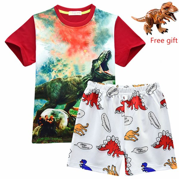 2019 maglietta nera estiva per ragazzi e breve Jurassic World Dinosaur Print T-shirt per bambini Top Abbigliamento bambino Abbigliamento bambino 4-10 anni