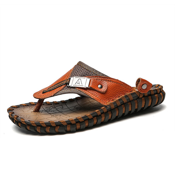BIG SIZE men slippers Genuine leather flip flops for men top quality brand summer beach shoes black and brown sandals 40-48