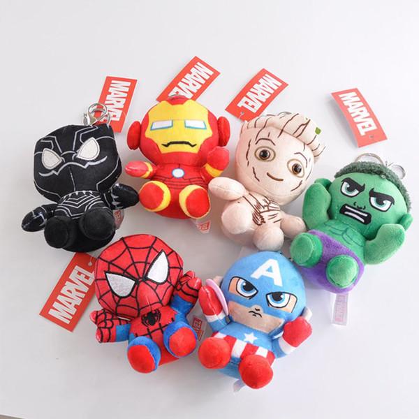 12 CM Avengers Plüschtier Puppe Hulk Iron Man Spiderman Captain America Schwarzer Panther Keychain Kinder Rucksack Ornament Großhandel