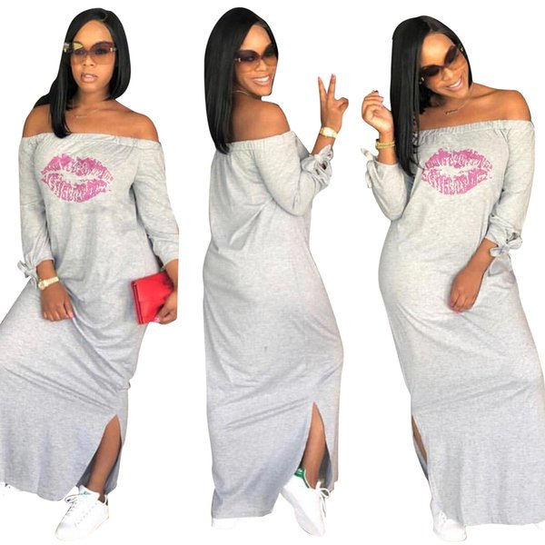 Sexy Lip Designer Dress for Women Female Summer Spring Clothing Off the Shoulder Split Up Long Dresses