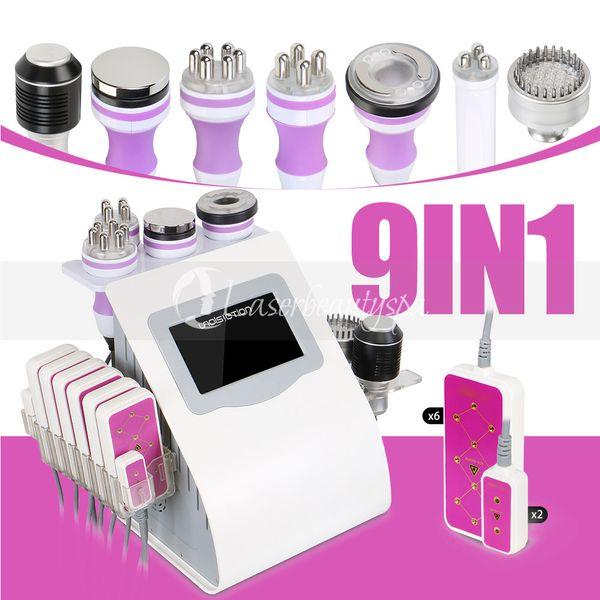 Beste Qualität 9 IN 1 Uniosetion Hohlraumbildung Rf-Vakuumkaltphotonen-Mikrostrom führte den Körper des Laser-5mw, der Schönheits-Maschine abnimmt