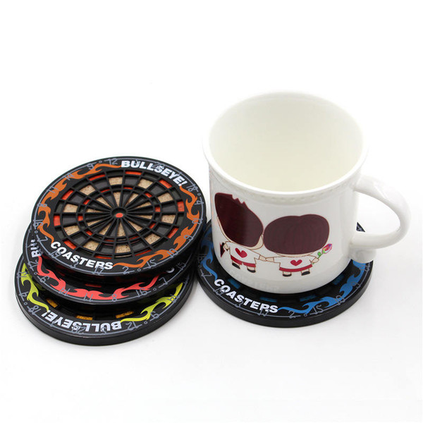 4pcs/set Mini Kitchen Table Mat Utensils Dart Board Styled Cup Pad Coaster Dart Board Drink Bottle Beer Beverage Placemat CT0089