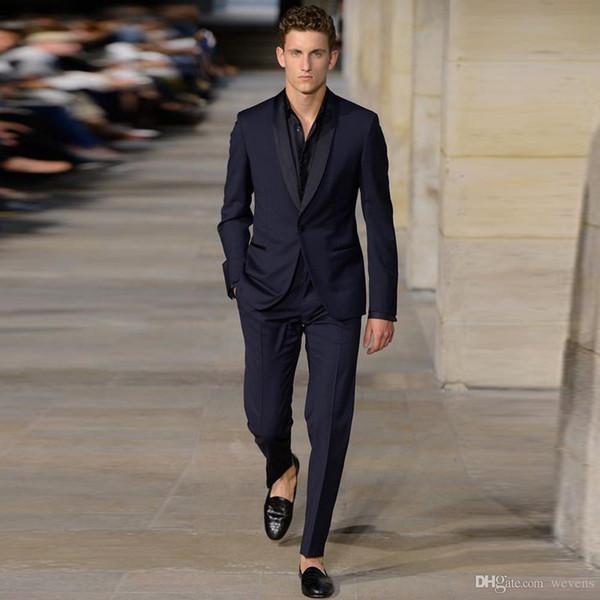 Mais recente Azul Marinho Slim Fit Negócios Smoking Um Botão Xale Lapela Roupas Casuais Sob Medida Jacket + Calças Grátis Taxa de Gravata borboleta