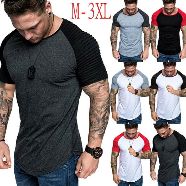 Moda Verão dos homens Casual Fit Camisetas de Manga Curta Fino Musculação Musculação T-shirt Tee Tops Algodão Patchwork Roupas Masculinas