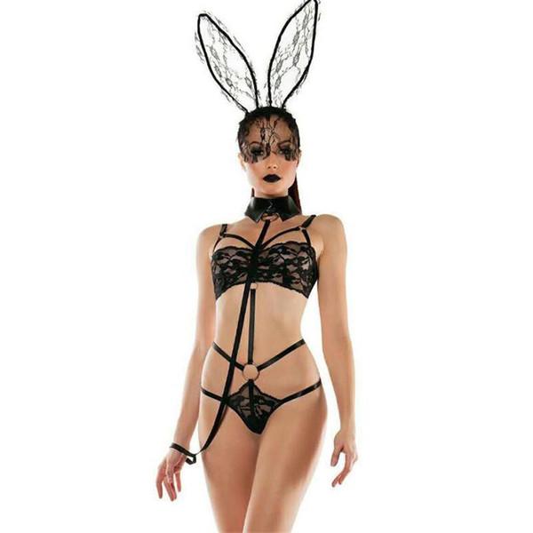 top popular EU Designer Women Sexy Set Bunny Girl Lace Perspective Three Point Type Underwear Sexy Womens Underwear 2019