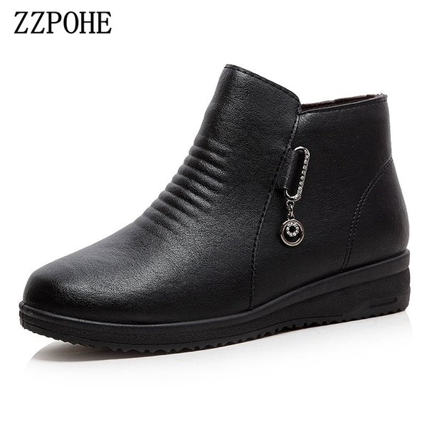 zzpohe plus velvet warm mother and women's shoes pu soft leather non-slip soft bottom middle-aged snow and ankle winter boots