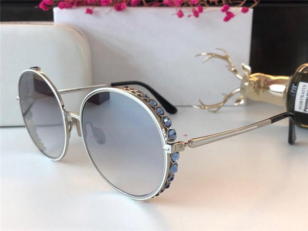 Wholesale-Designer Women Sunglasses 268S Retro Round Frame Glasses Large crystal diamond Design Mirror Lens Top Quality UV400 Protection