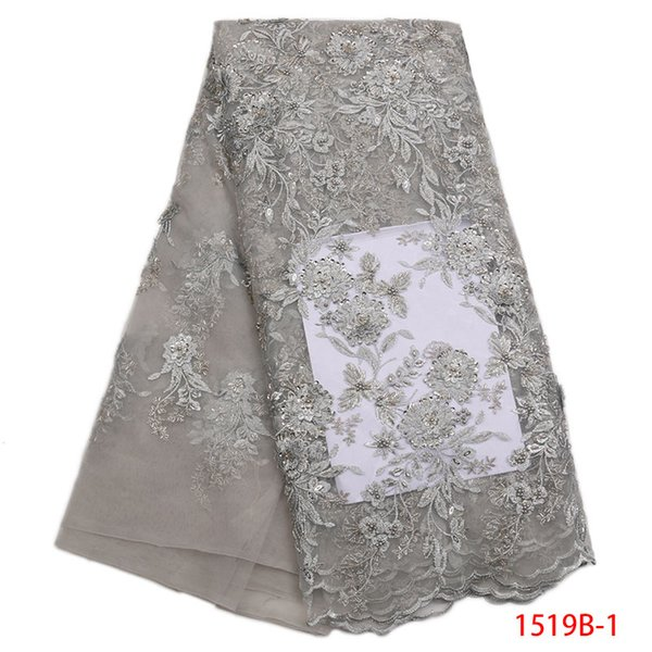 Gold French Lace Fabric With Sequins Beads Pearls High Quality Net Guipure Embroidered Mesh French Tulle Dress GD1519B-3