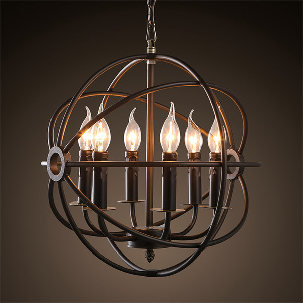 Vintage Pendant Light American Country Style birdcage Bar Rust Iron chandeliers Classic Beauty Iron candle light Hollow Round Lamp