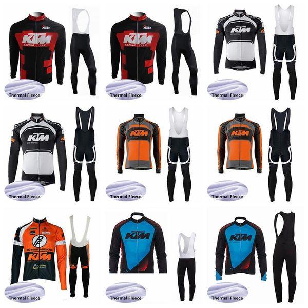 2019 KTM Nouvelle Hiver Hiver Polaire Vélo Jersey Long Bib Set Hommes Vélo De Montagne Vêtements Ropa Ciclismo Vélo Vêtements K011020