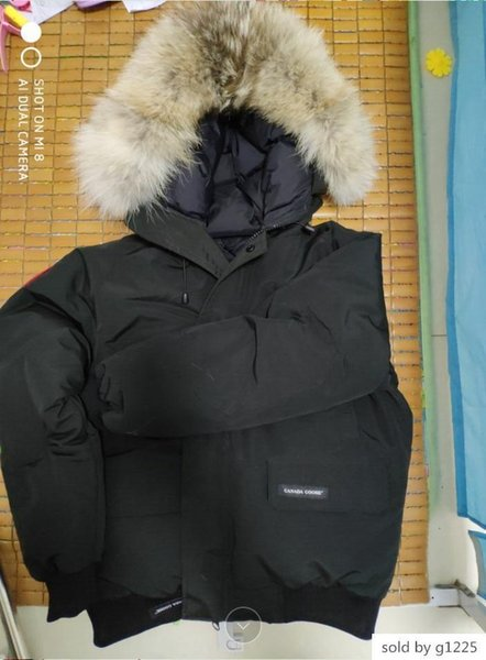 Мужчины S WINTER густая теплая куртка CAN-Chilliwa-B ветровки Большой реальный волк Collar / Белый гусь вниз Верхняя одежда Пальто с меховым капюшоном