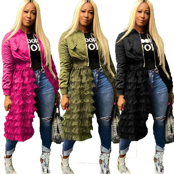 Womens Designer Long Jackets Zipper Gauze Panelled Jacket Solid Color Coats Spring Autumn Womens Clothing