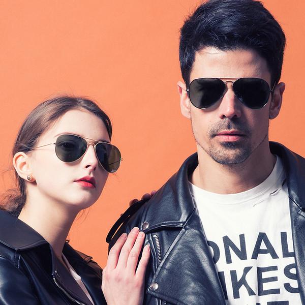 Pilot Style Sunglasses Brand Designer Sunglasses for Men Women Metal Frame Flash Mirror Glass Lens Fashion Sunglasses