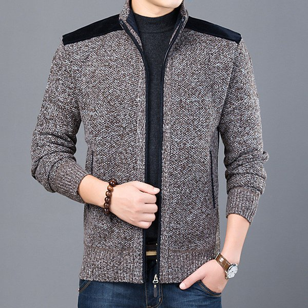 2018 Autumn Winter Men Jacket Coat Solid Casual Knitted Thick Warm Long Sleeve Zipper Hot Sale New Brand Men's Jackets GD1090