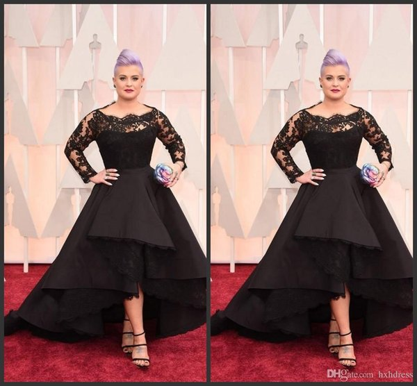 New Oscar Kelly Osbourne Celebrity Black Lace High Low Red Carpet Sheer Evening Dresses Ruffles Party Gowns Plus Size Long Formal Dresses