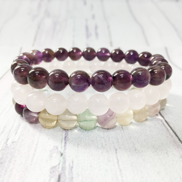 MG0364 Trendy Fluorite Stacking Bracelet Set Natural Rose Quartz Bracelet 8 mm Crystal Heart Chakra Bracelet