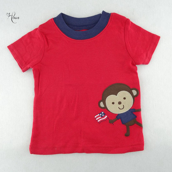 2019 Infant Leisure T-shirt Clothes Baby Boy Infant Children Clothing O-Neck Red Monkey Printing Short Sleeve Tees
