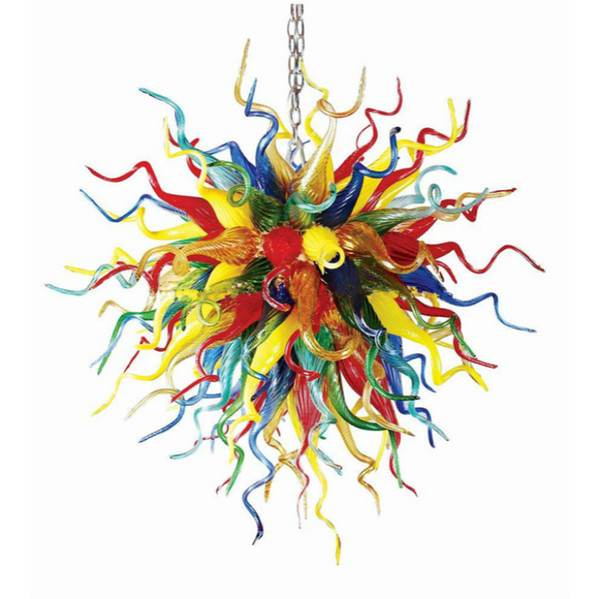 Colorful Chihuly Glass Ball Chandelier Light with Rainbow Color 70x70cm Free Shipping Chain Hanging Lamp for Villa Stair Decor