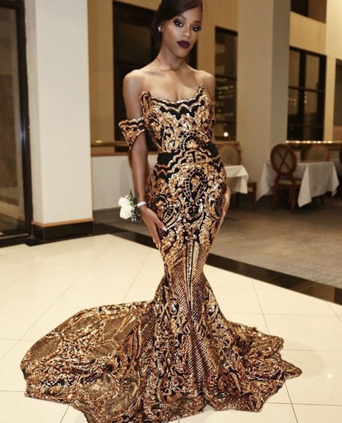 Sparkly Preto E Ouro Vestidos de Noite Sereia Vestidos de Baile Para Meninas Negras Plus Size Apliques Querida elegante Caftan Africano Prom Vestidos
