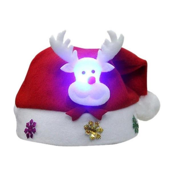 Christmas LED Light Hat Cartoon Santa Claus/Elk/Snowman Xmas Cap for Adult Kids HUG-Deals