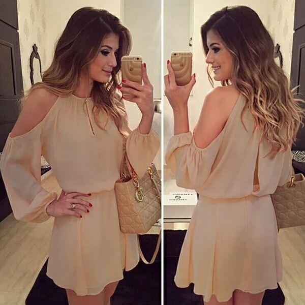 Elegantes meistverkauftes neues Chiffon- Kleid-Sommer-Frauen-reizvolle Art- und Weiselanghülse beiläufige Normallack-Abend-Partei-Verein-Aprikosen-Tendenz-Kleider