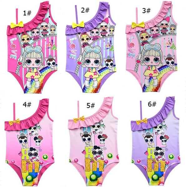 82a2d6a28 Cartoon Surprise girl Swimsuit Baby Girls Swimwear Summer Ruffle Bow  Swimming Suit Kids Designer One Piece Swimsuit Beach Clothes A21904 Hot