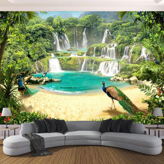 Gewohnheit 3D Wallpaper Wandbilder Wasserfall Peacock See-Landschaft 3D-Effekt Wohnzimmer Sofa TV Hintergrund Wandbild Foto-Wand-Papier