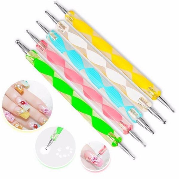 Na025 5pc et two way dotting pen nail gel poli h builder diy nail art de ign marbleizing nail manicure painting drawing tool et