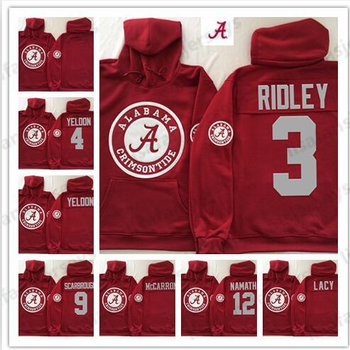 Mens Crimson Alabama Crimson Tide Sweatshirt Rot Lacy Hurts Cooper Namath Personalisierte genähte College-Football-Pullover