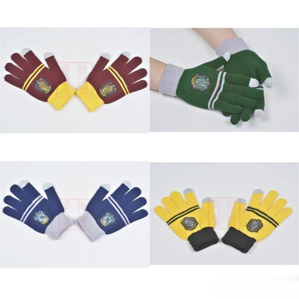Гарри Поттер колледжа варежки Гриффиндор слизеринские Перчатки трикотажные Сенсорный экран Полосатый бейдж Cosplay Детская пальцев перчатки оптом