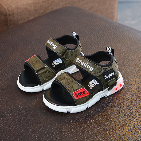 Summer 2019 New Childrens Shoes Childrens Sandals Korean version Boys and Girls Beach Sandals Baby Flash Wholesale