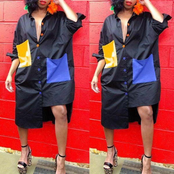 Женщины нагрудные шеи Нерегулярные платья дамы вскользь Багги Мини платья плюс размер Короткое платье с длинным рукавом осень Цветочные отпечатанных платье