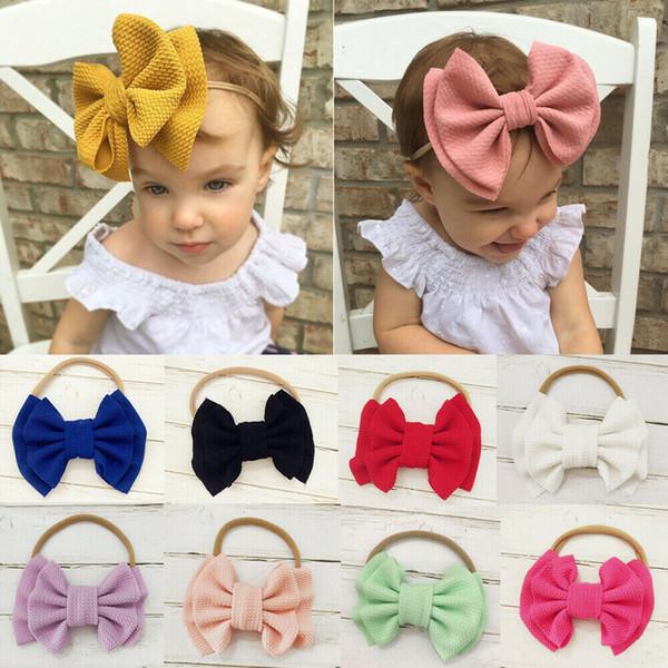 Kids Baby Girls Bow Knot Hairband Headband Stretch Turban Head Wrap Headwear