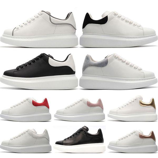 Alexander McQueen Designer 3M réfléchissant luxe blanc en cuir casual chaussures fille femmes hommes noir or rouge rose mode confortable plat sneaker taille 36-44