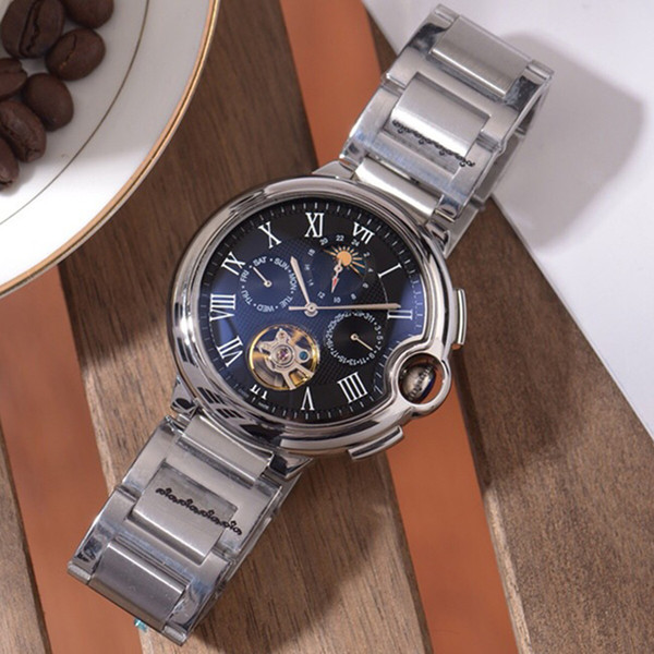 Ocio reloj mecánico 316 cinturón de acero movimiento automático caja de plata esfera blanca azul fase lunar pantalla de zona de multitarea Mesa suiza A47-1
