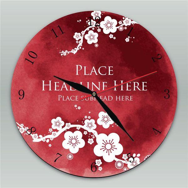 Pflaumenblüte aus Holz Wanduhr Runde Vintage für Home Kitchen Office Decor Clock
