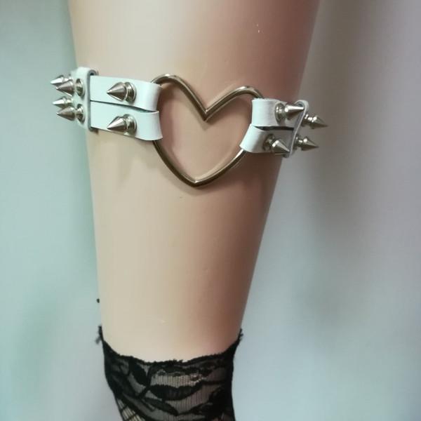 Women Sexy Harajuku metal rivet punk leg ring leather handmade high elastic garter belt Adom sweet heart free shipping